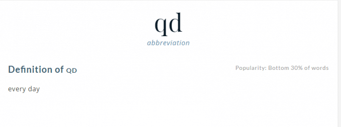 QD Medical Abbreviation